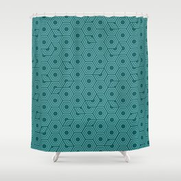 Blue and Teal Hexagon Honeycomb Shower Curtain