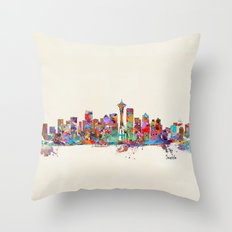 Seattle Washington skyline Throw Pillow
