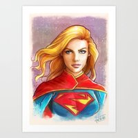 supergirl Art Prints featuring Supergirl by fabvalle
