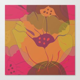 Colourful pink, yellow, orange poppies in transparent layers. Canvas Print