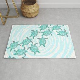 Watercolor Teal Sea Turtles on Swirly Stripes Rug