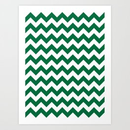 White and Cadmium Green Horizontal Zigzags Art Print