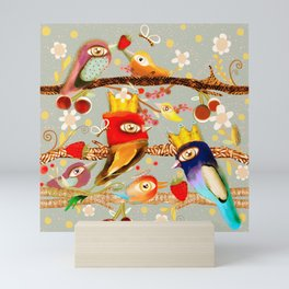 Royal birds king and Queen  Mini Art Print