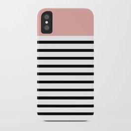 Pinstripe Color Block (Coral) iPhone Case
