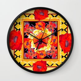 RED POPPIES DECORATIVE FLORAL ABSTRACT Wall Clock