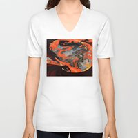 smaug V-neck T-shirts featuring Fire and Water - Bard vs Smaug by BlacksSideshow