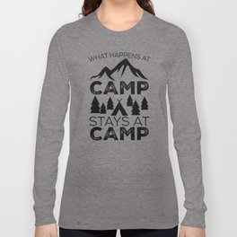 What Happens at Camp Stays at Camp-Black Long Sleeve T-shirt