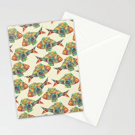 Abstract Geometric Fish Pattern Stationery Cards
