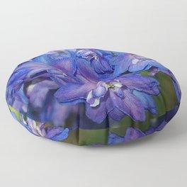 Sky blue Delphinium Flowers Floor Pillow