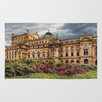 theatre Area & Throw Rugs featuring Slowacki Theatre in Cracow by jbjart