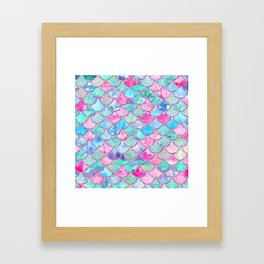 Colorful Pink and Blue Watercolor Trendy Glitter Mermaid Scales Framed Art Print