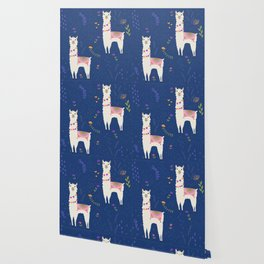 Llama on Blue Wallpaper