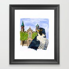 Peregrine Falcon with Old St Pat's Church Framed Art Print