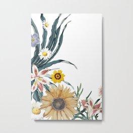 Blossom multi floral side border for home decoration Metal Print