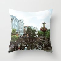 bicycles Throw Pillows featuring Bicycles, Bicycles by Emily O