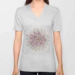 Big Succulent Watercolor Unisex V-Neck