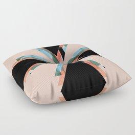 Three Triangles Geometric in Black Floor Pillow