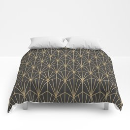 Art Deco Vector in Charcoal and Gold Comforters