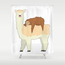 Cute Llama with a Sleeping Sloth Gift Shower Curtain