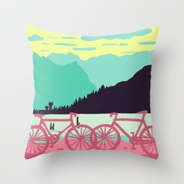 Bicycles on the lake Throw Pillow
