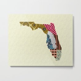 Florida State Map Metal Print