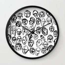 Black and White Line Drawing Faces Wall Clock