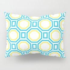 Polygonal pattern - Turquoise blue and Lemon Yellow Pillow Sham