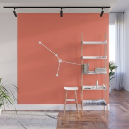 Cancer Zodiac Constellation - Coral Red Wall Mural