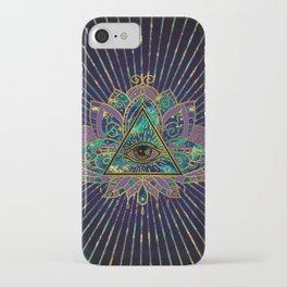 All Seeing Mystic Eye in Lotus Flower iPhone Case