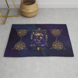 Sacred Geometry All Seeing eye in gold and amethyst Rug