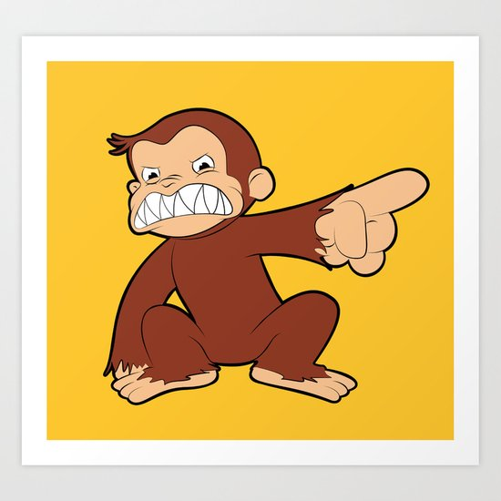 Furious George Funny Monkey Cartoon Animal Art Print