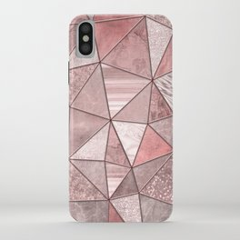 Soft Pink Coral Glamour Gemstone Triangles iPhone Case
