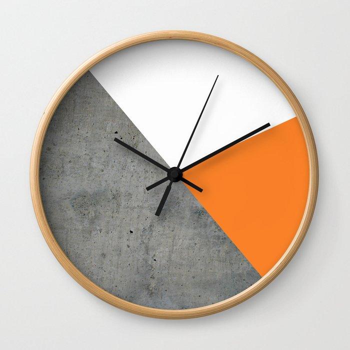 Concrete Tangerine White Wall Clock