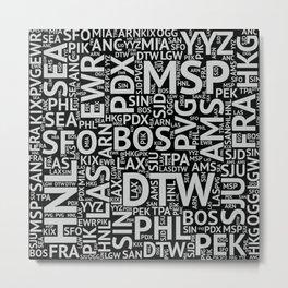 World Airport Codes (All Black) Metal Print
