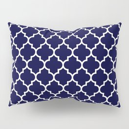 White Moroccan Quatrefoil On Navy Blue Pillow Sham