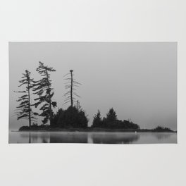 trees in the fog Rug
