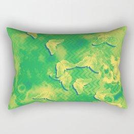 Yellow butterflies on textured green chevrons Rectangular Pillow