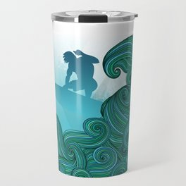 Surfer dude hangin ten and catching a wave Travel Mug