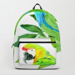 Parrot with Tropical Leaves Backpack