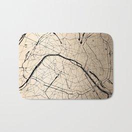 Paris France Minimal Street Map - Gold on Black II Bath Mat