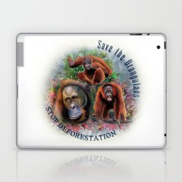 Save the Orangutans Watercolor Illustration Laptop & iPad Skin