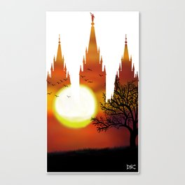 71fa05f86b0d Salt Lake Temple Sunset Tree Silhouette Canvas Print