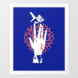 Living Coral / Blue Art Print