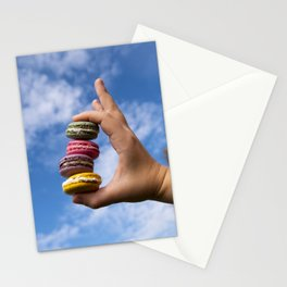 Colorful French Macaroons On Green Background Stationery Cards