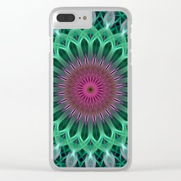 Green and red colors mandala Clear iPhone Case