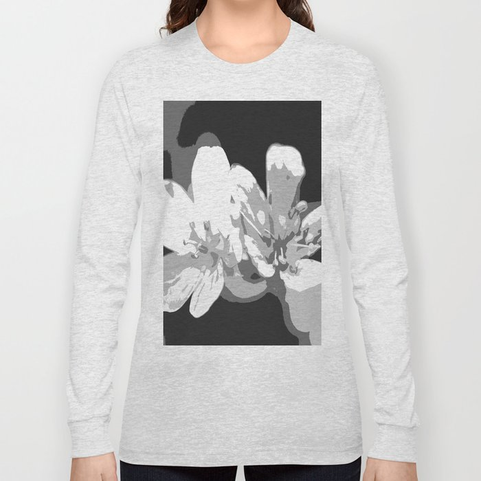 Retro Flowers in Black and White #decor #society6 Long Sleeve T-shirt
