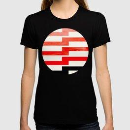 Minimalist Mid Century Circle Frame Vermillion Red Zig Zag Colorful Lightning Bolt Geometric Pattern T-shirt