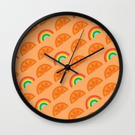 Orange Rainbow Pattern Wall Clock