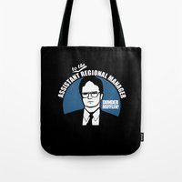 dwight Tote Bags featuring Dwight Schrute logo by Buby87