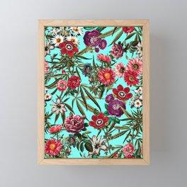 Marijuana and Floral Pattern II Framed Mini Art Print